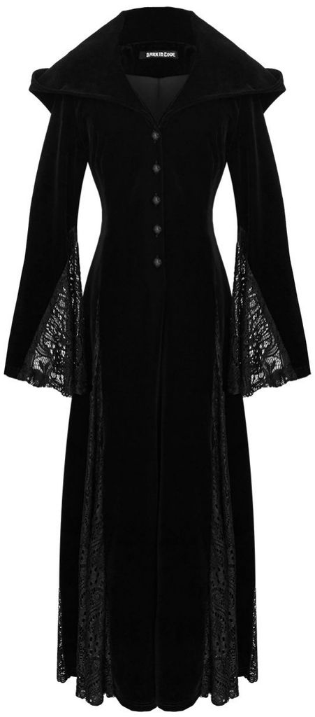 black velvet *hooded* gown
