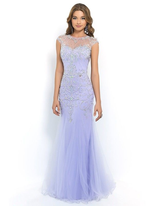 Trumpet/Mermaid Scoop Sleeveless Beading Floor-length ...