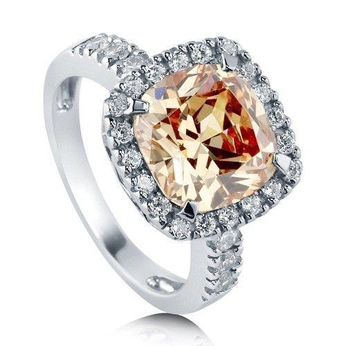 Коктейльное кольцо цвета Шампанского огранки подушка из стерлингового серебра с цирконами CZ - Косметика для Всех - Cosmeticall.com.ua