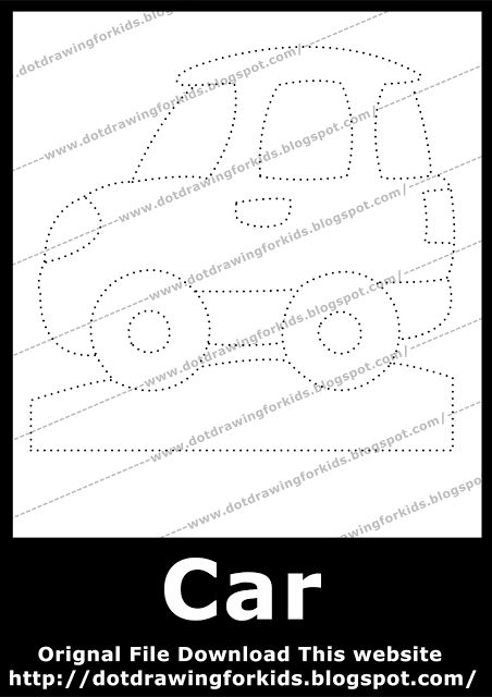 Dot Drawing For Kids: Car Dot Drawing for Kids, dot to dot drawings free, dotted drawing images