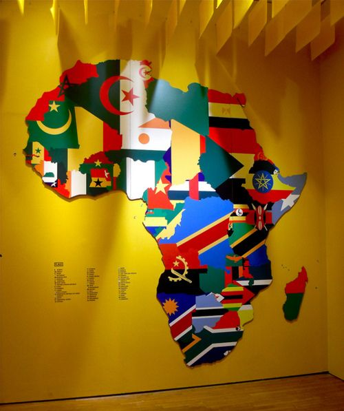 The flags of Africa. I'd definitely do this for a child's play room (if i ever have kids that is)
