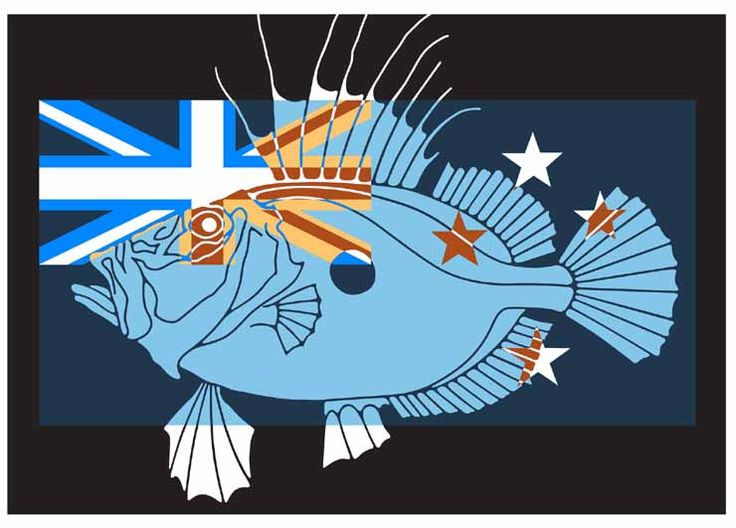 Zeus Faber with NZ Flag by Brad Novak for Sale - New Zealand Art Prints