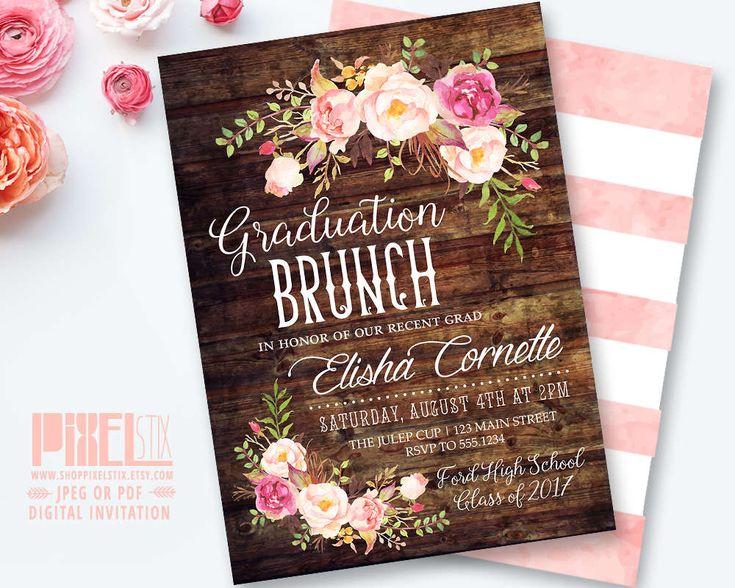 Rustic Graduation Brunch Invitation, Boho Floral Graduation Invite Grad Party Floral Luncheon Invitation High School Graduation Announcement by shopPIXELSTIX on Etsy