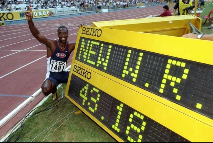 August 26,1999: MICHAEL JOHNSON BREAKS THE 400 METRES WORLD RECORD  -   After being plagued with injuries in 1999, not only does Michael Johnson recover in time to compete in the 1999 IAAF World Championships but also ended up breaking a world record when he finished the 400 m race in a new world record time of 43.18 seconds.