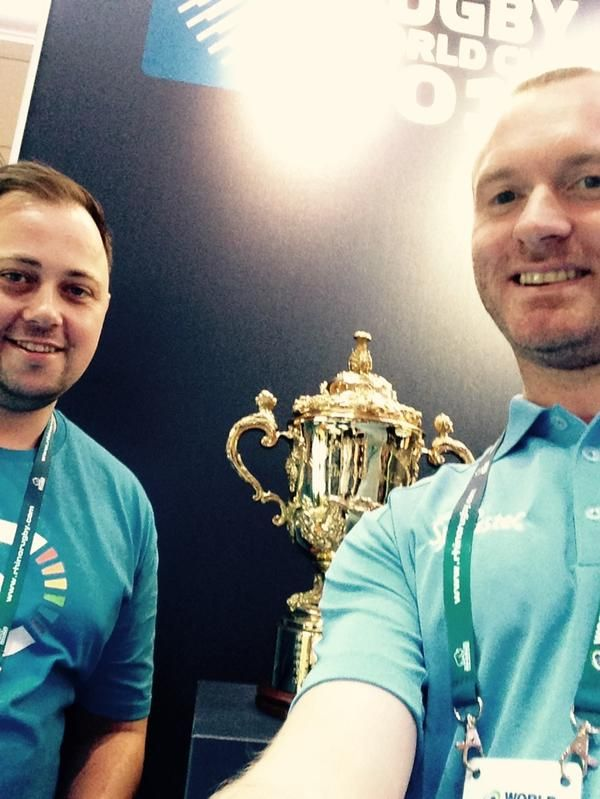 Jenks & Dave from @SportstecGroup hogging the #Rugby World Cup #IRBConfEx