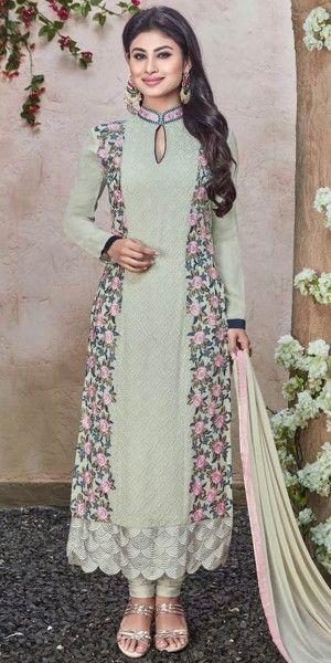 Dazzling Green Georgette Salwar Suit.