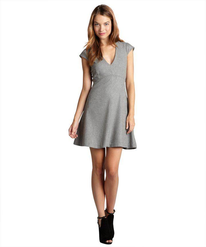 light grey melange Luna wool blended flared stretch dress