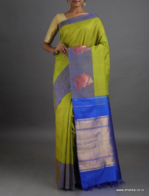 Shivani Gold Motif Border Zari Pallu #LinenSilkSaree