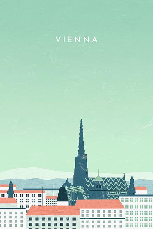 Vienna Wien Travel Poster by Katinka Reinke #VintageTravel