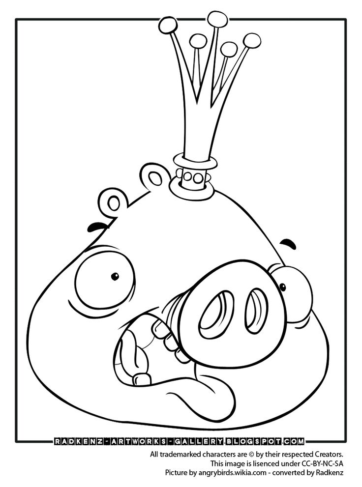 Angry bird epic coloring pages angry birds coloring page king pig