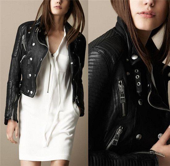 Women Faux Leather Jackets, Casual Punk Zipper Coat