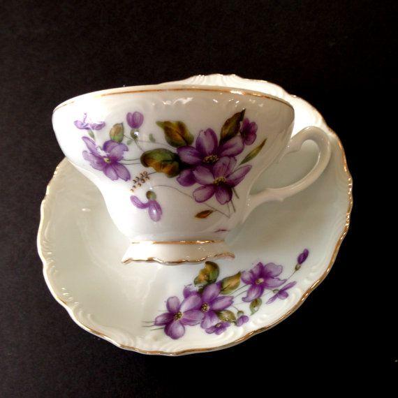 Violets Teacup Vintage Porcelain Tea Cup and by BlueMoonAttic
