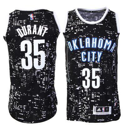 Oklahoma City Thunder Kevin Durant adidas Black City Lights Fashion Swingman Jersey