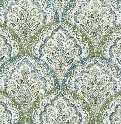 идеи для штор:  серо-зеленая ткань с восточным орнаментом 42438/579