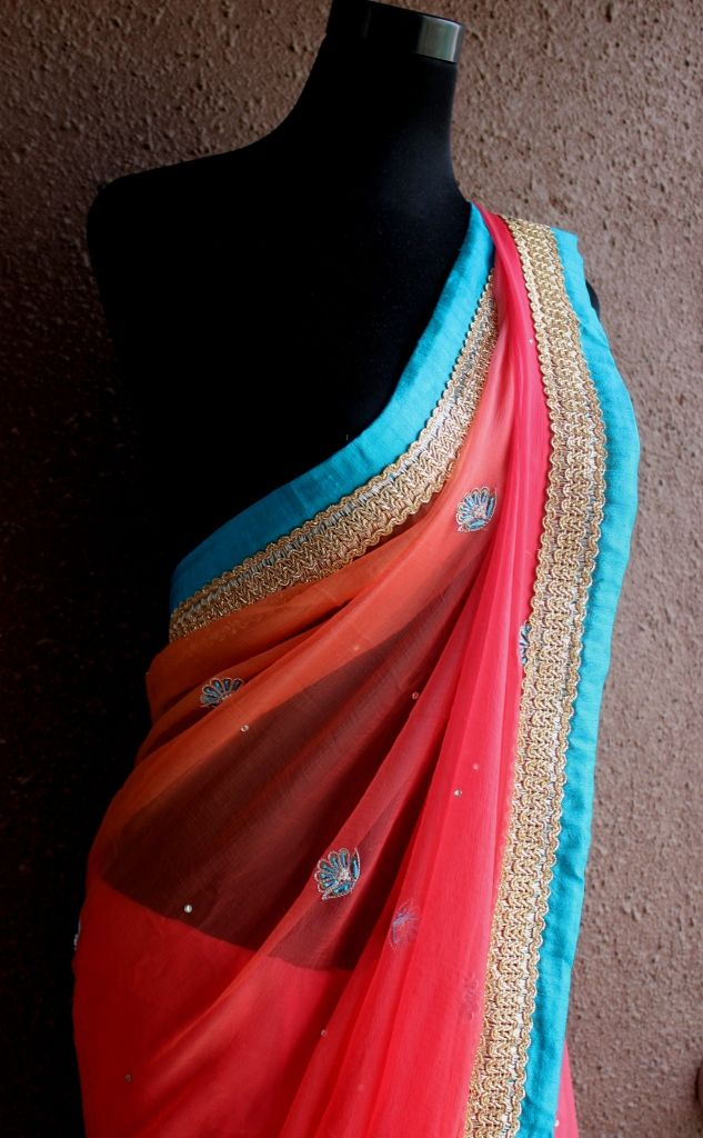 PP185 Watermelon colored saree from Priti Sahni, India  To get more details, watsapp us on +91-9022 617 481 or email us on preti.designs@gmail.com