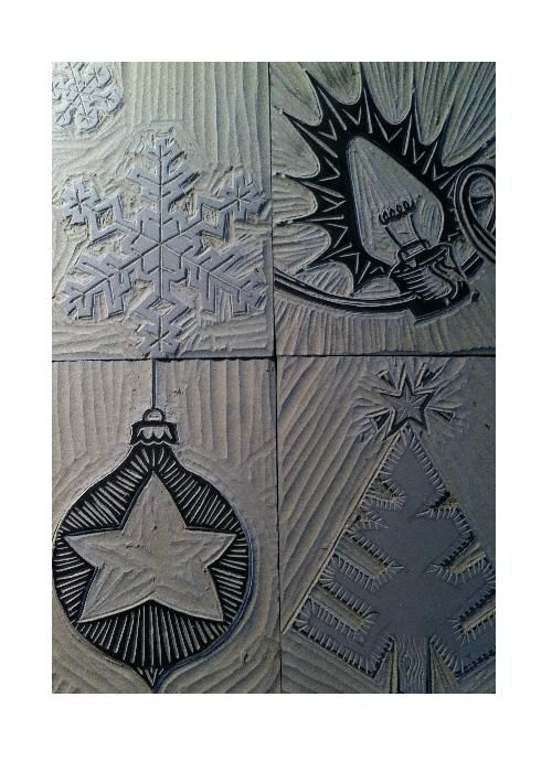 Cute Christmas card designs--block print