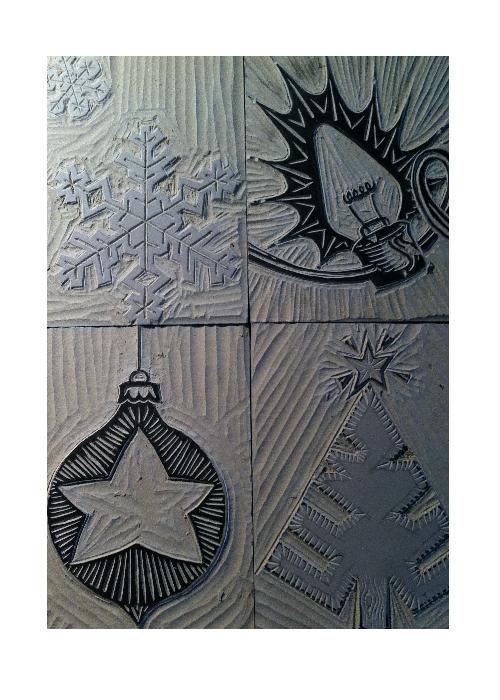Cute Christmas card designs--block print