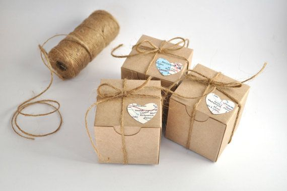 Wedding favor boxes brown kraft favours  by AshleyCaitlinCrafts, $6.00