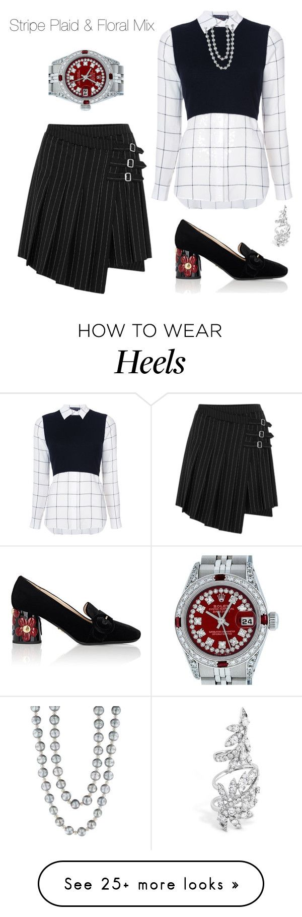 """""""Stripe plaid and floral mix"""" by sharonvandoesburg on Polyvore featuring McQ by Alexander McQueen, Alice + Olivia, Prada, Effy Jewelry and Rolex"""