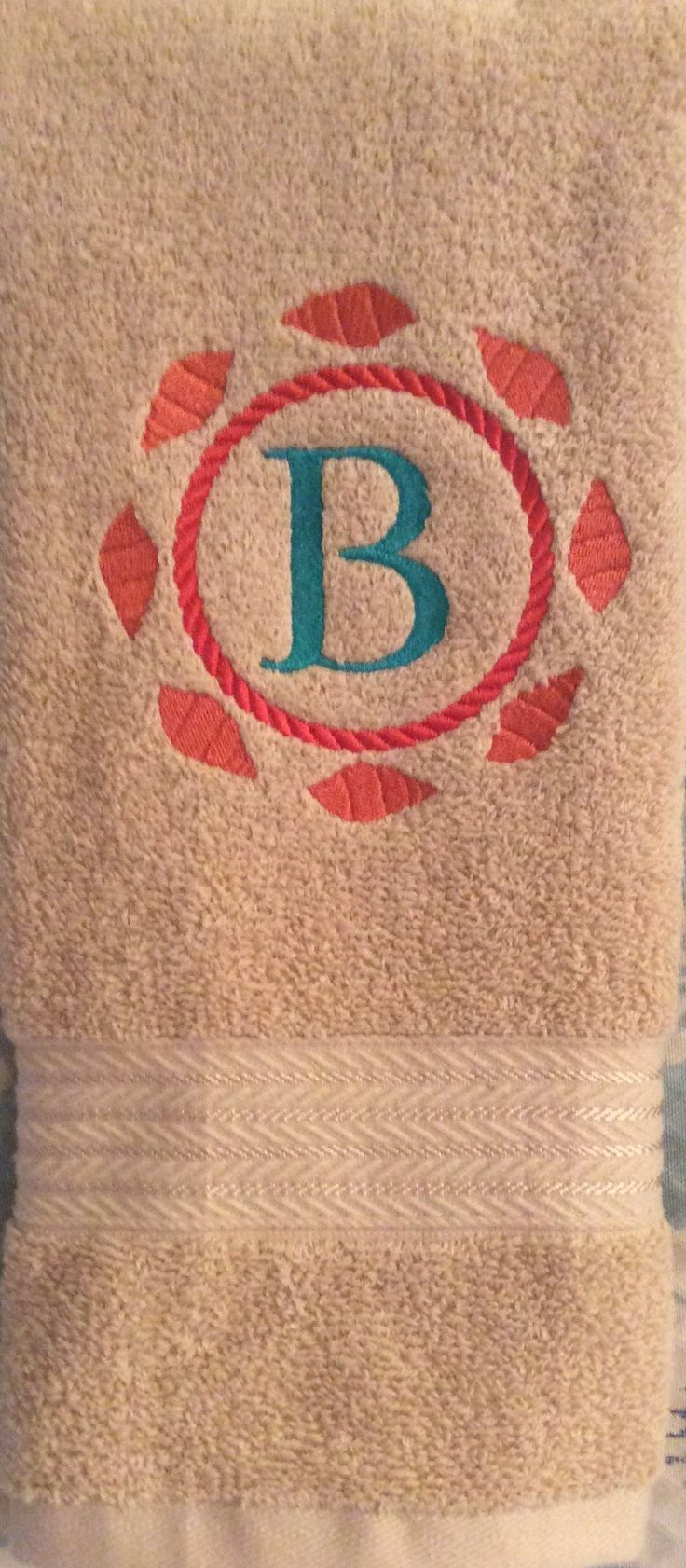 """Embroidered Tea Towel, Cotton, """"B"""" Light Brown w/Teal, Salmon Color, Free Shipping"""