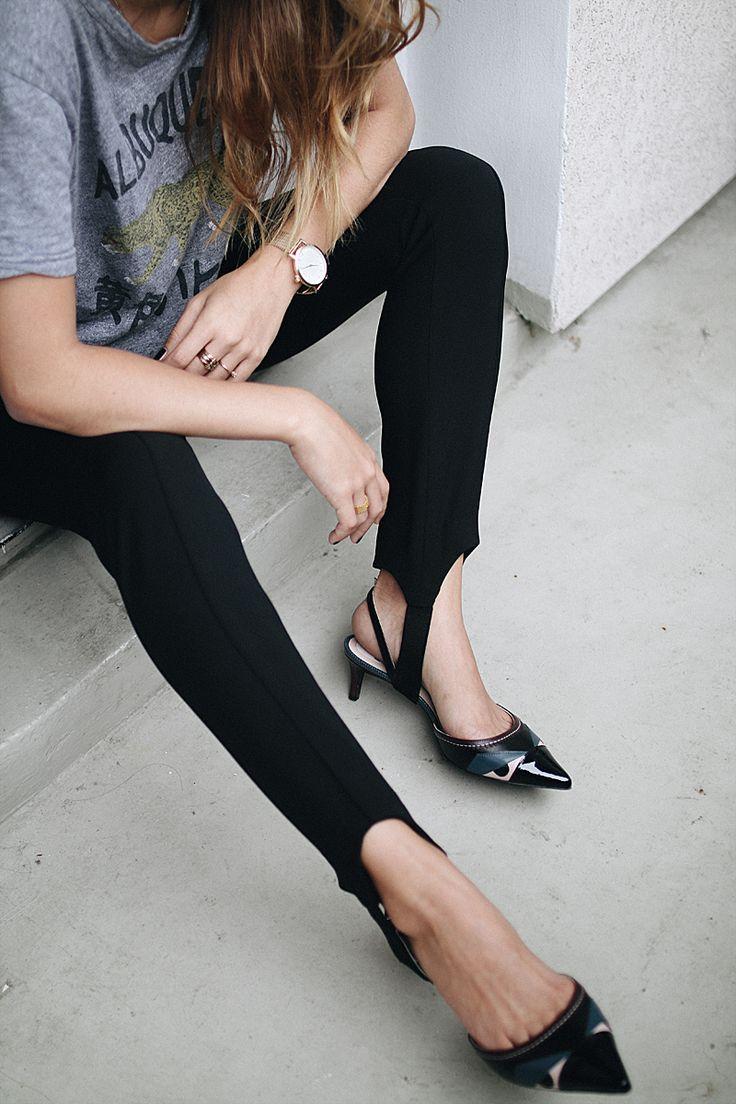 Micro Trend: Stirrup Pants. Desi is wearing: Stirrup Pants, Fendi pumps, print shirt, mesh watch - teetharejade.com