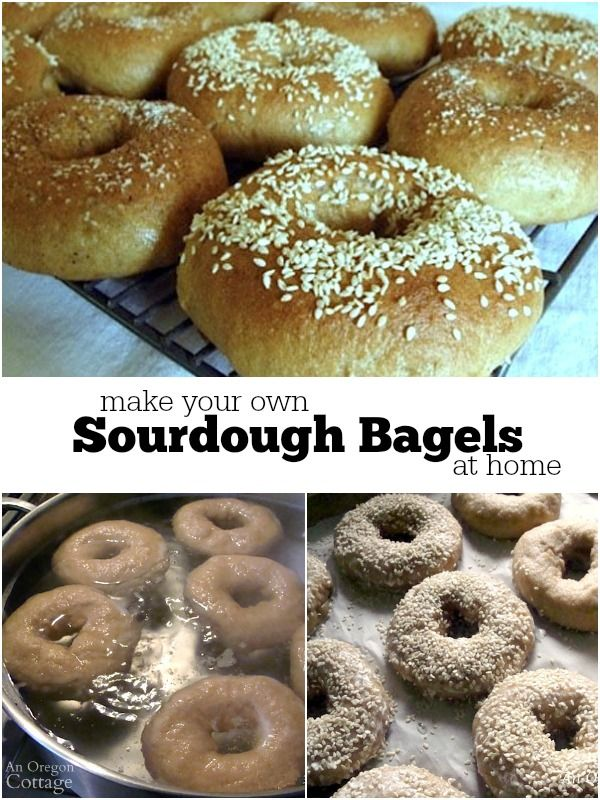 Picture tutorial and recipe to make sourdough bagels at home - control the ingredients and make them healthier!