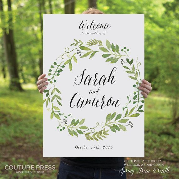 Printable Wedding Welcome Sign Watercolor Rustic by CouturePress