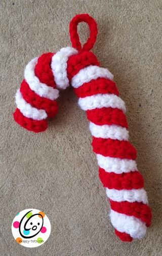 "Candy canes add color to any Christmas tree and there are many patterns available. This one by Yarnspirations is my favorite and is super simple to make. It adds a nice touch to our ""Countdown to C..."