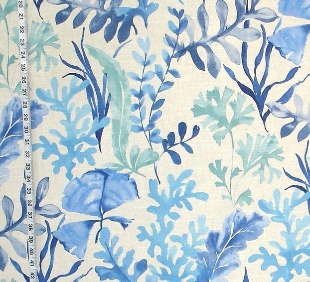 Ocean fabric coral blue aqua sea glass watercolor garden from Brick House Fabric: Novelty Fabric