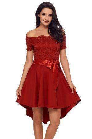 670bd3ad220 Red Lace Off Shoulder Dip Hem Prom Dress. Red Lace Off Shoulder Dip Hem  Prom Dress Evening Dresses ...