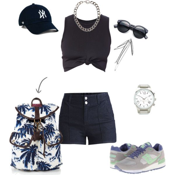 Summer by michellewl on Polyvore featuring Pieces, Saucony Originals, Charlotte Russe, MANGO and Summer