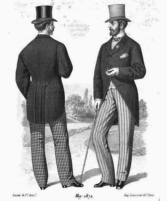 A moda e a sociedade : Romantismo & Era Vitoriana. No vestuário masculino, o Dandismo de George Brummell era comum entre os homens, não só no vestuário, mas também no comportamento e na postura, aparecendo com algumas alterações como a mistura de estampas, principalmente o uso do xadrez, tecidos diversos e coloridos. O vestuário era impecável, usava-se as cartolas, calças ajustadas ao tornozelo, as camisas com o colarinho em pé e o uso de bengalas.