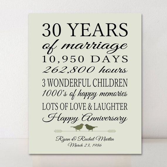 30th Anniversary Gift Personalized Gift 30 Years Married Gift for Parents Days…