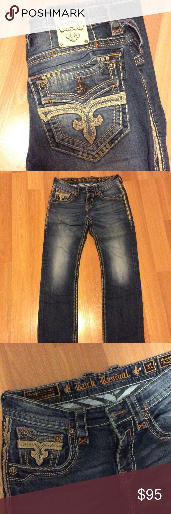 Rock Revival Brand New Men's Jeans! Orange Stitch, worn three times.  Amazing condition