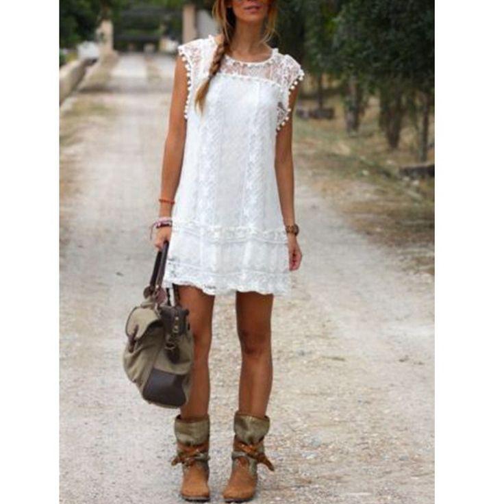 Vestidos 2015 Summer Style Elegant Women Casual Solid Short Sleeve Slim Lace Mini Dress Tops Sexy Ladies White Dress //   Цена: $ US $7.97 & Бесплатная доставка //    #fashionmartonline #мода #стиль