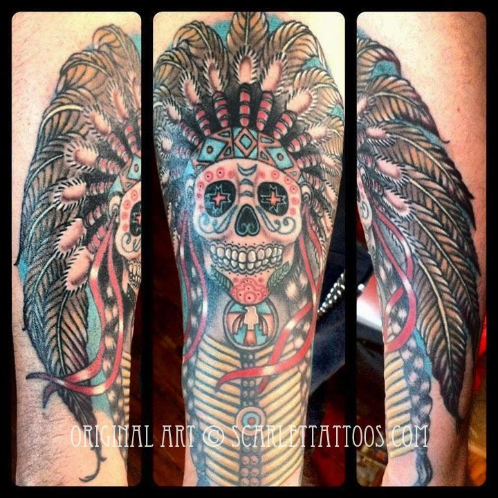 indian chief tattoo color Google Search Custom tattoo