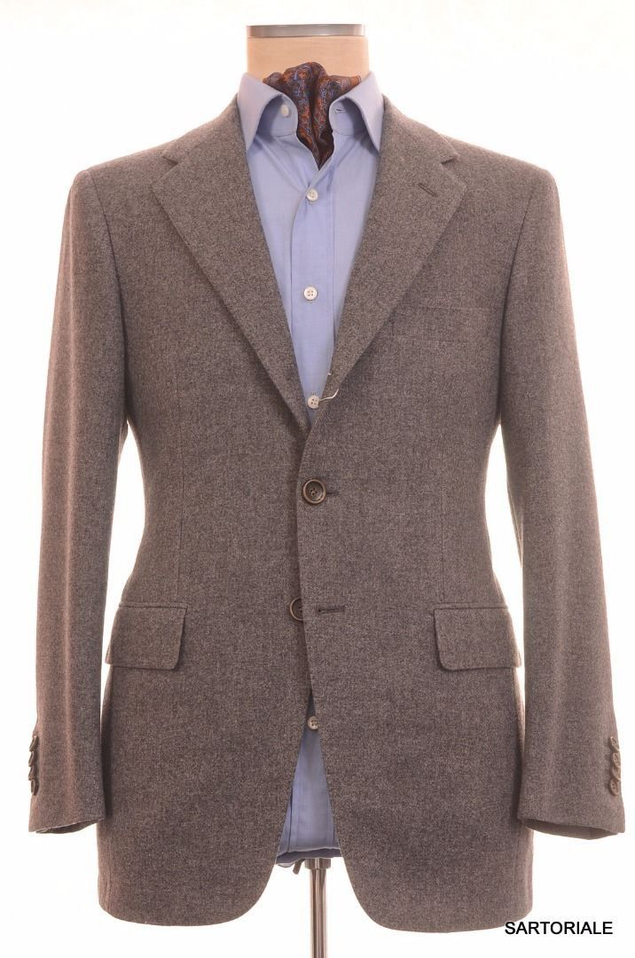 Sartoria PARTENOPEA Hand Made Gray Wool Flannel Blazer Jacket NEW