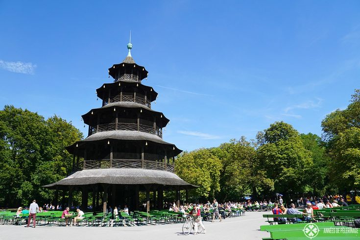 "The famous beer garden ""Chinesischer Turm"" in Munich"