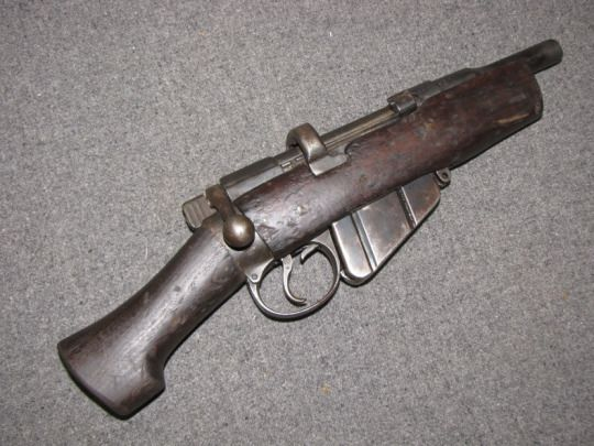 A sawn-off Lee Enfield rifle for underground fighting.