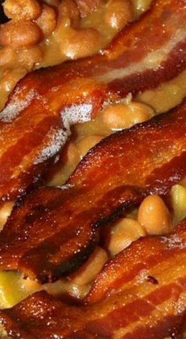 Baked Bean Casserole with Apples and Bacon -a Southern side dish inspired by Paula Deen. ❊