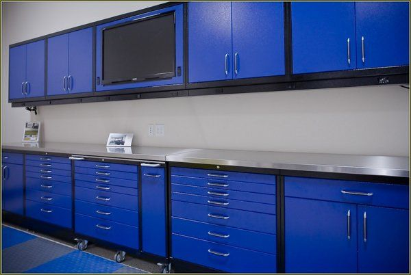 Wall Storage System Blue Metal, Garage Storage Wall Cabinets Home Depot