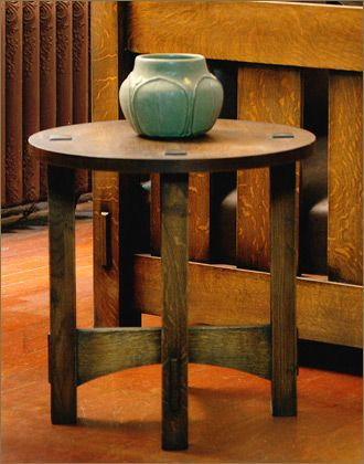 "Round Side Table -- This table features though tenons on the 20"" top.  20""D 20""H, $450"