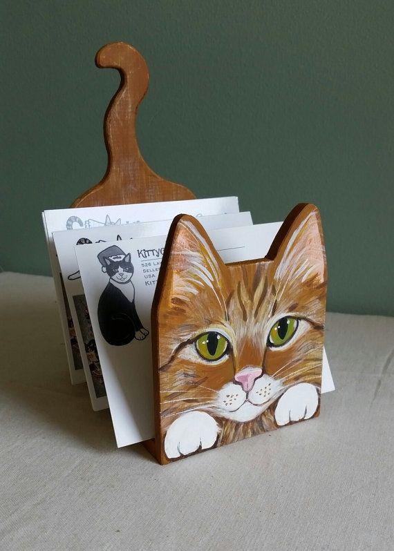 Cat Desk Organizer Letter Mail Paper Holder Red by kittycatstudio