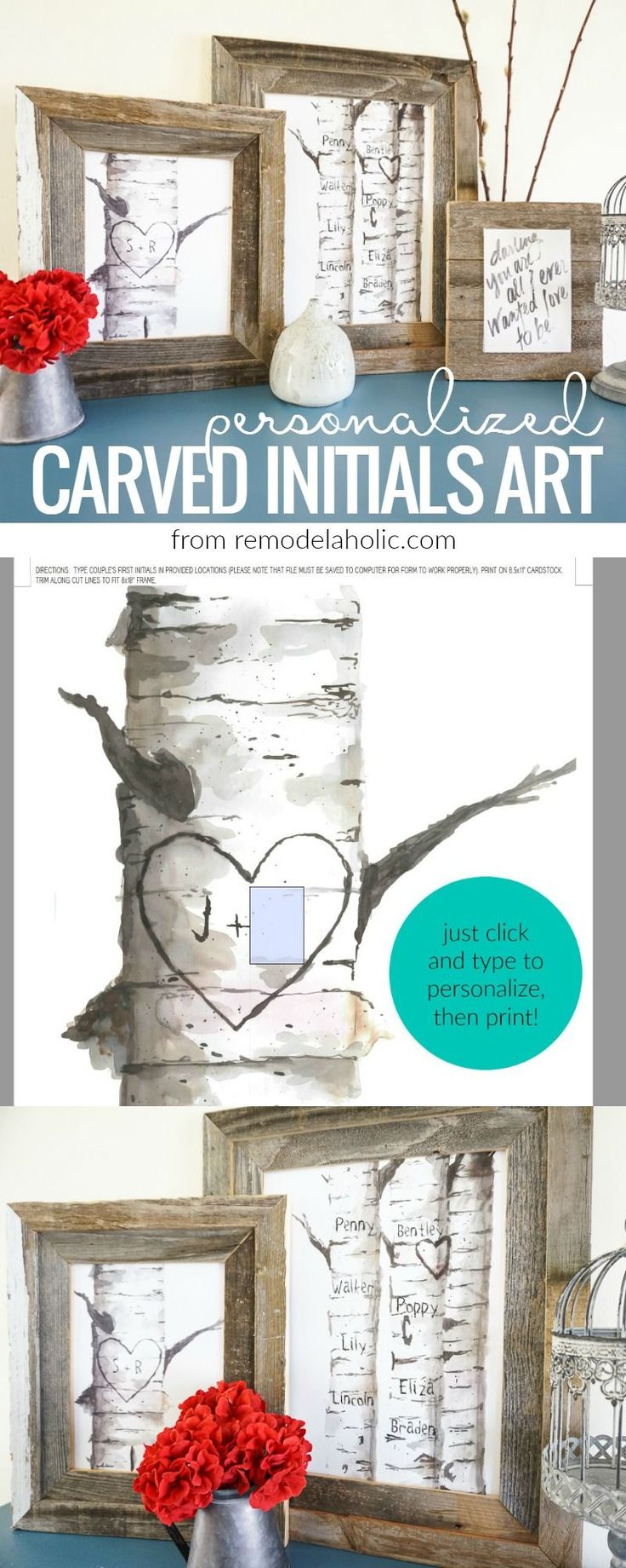 Decorate for winter and lovey-dovey Valentine's Day *without* the pink and purple with this beautiful set of free printable personalized birch tree art prints, with custom carved initials and names, from Remodelaholic.com.