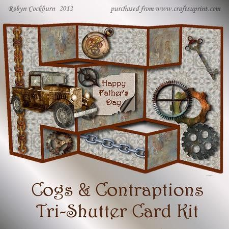 Cogs Contraptions Tri Shutter Card Kit on Craftsuprint designed by Robyn Cockburn - Decoupage rustic mechanical images for a male birthday or Fathers Day card.Tri-shutter cards are very simple to make (step by step photographic tutorial included). All of the decorative panels, fold lines and cutting lines are built into the design. Just glue the front and back panels together, cut two slots, make the folds and you are ready to attach the decoupage items. Various greetings and a matching ...
