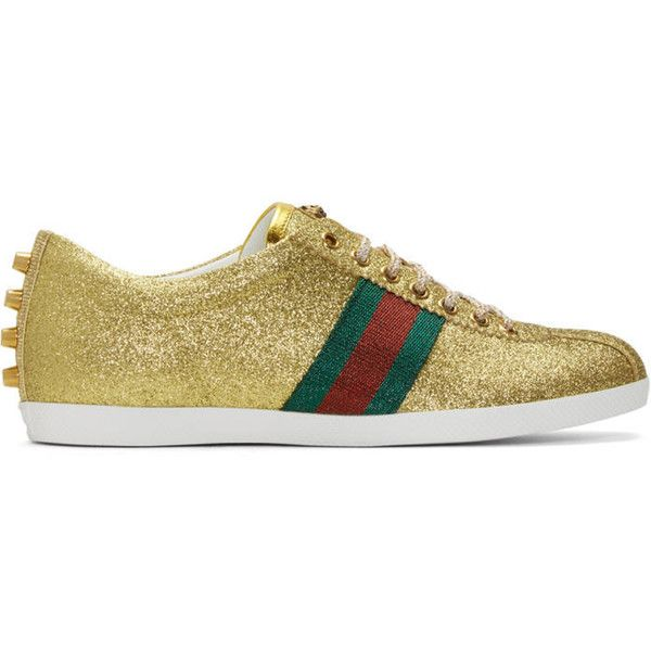 Gucci Gold Glitter Bambi Sneakers ($645) ❤ liked on Polyvore featuring men's fashion, men's shoes, men's sneakers, gold, mens gold shoes, mens metallic gold sneakers, mens lace up shoes, gucci mens sneakers and mens sparkly shoes
