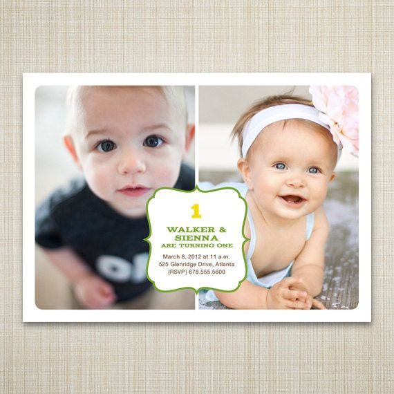 104 best images about Twins 1st birthday – Twin 1st Birthday Invitations
