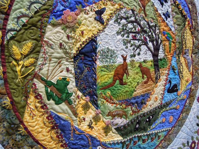 "Australia block, in: ""Naturally Crazy""  by Linda Steele, Park Orchards, Australia.  2013 PIQF, photo by Quilt Inspiration."