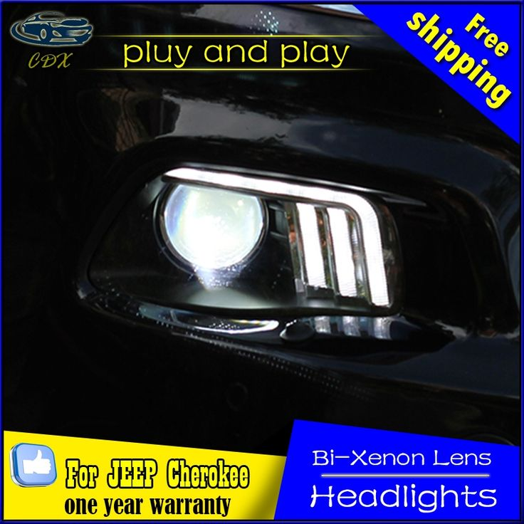 707.94$  Watch now - http://ali907.worldwells.pw/go.php?t=32747618027 - Car Styling head lamp for Jeep Cherokee Headlights 2011-2016 Cherokee LED Headlight LED DRL Bi Xenon Lens High Low Beam Parking