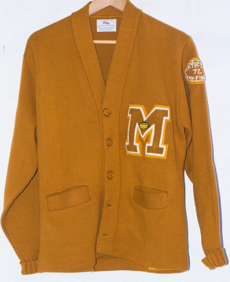Vintage 1970's Letterman varsity Mustard Men's Sweater Cardigan. M/L by Thespiffjunction on Etsy https://www.etsy.com/listing/220328050/vintage-1970s-letterman-varsity-mustard